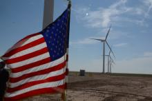 flag and wind turbines